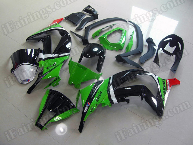 Motorcycle fairings/bodywork for 2011 to 2015 Kawasaki Ninja ZX10R green and black.