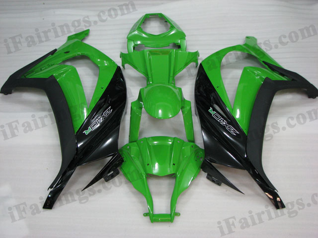 Motorcycle fairings/bodywork for 2011 to 2015 Kawasaki Ninja ZX10R green/black scheme.