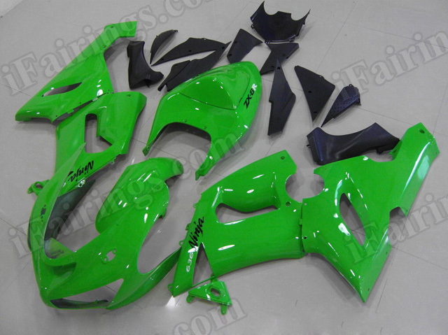 Motorcycle fairings/bodywork for Kawasaki 2005 2006 Ninja ZX6R lime green.