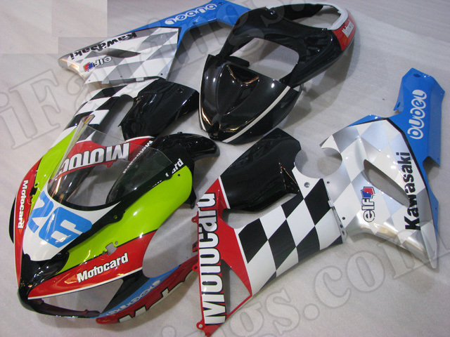 Motorcycle fairings/bodywork for Kawasaki 2005 2006 Ninja ZX6R motocard.