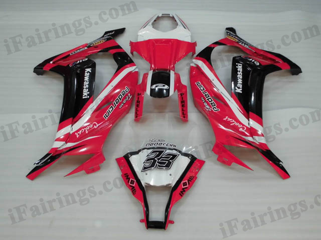 Motorcycle fairings/bodywork for 2011 to 2015 Kawasaki Ninja ZX10R red and black.