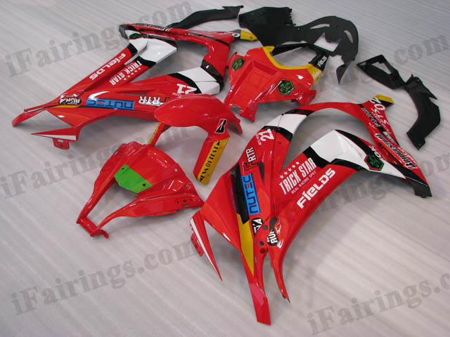 Motorcycle fairings/bodywork for 2011 to 2015 Kawasaki Ninja ZX10R red and white.
