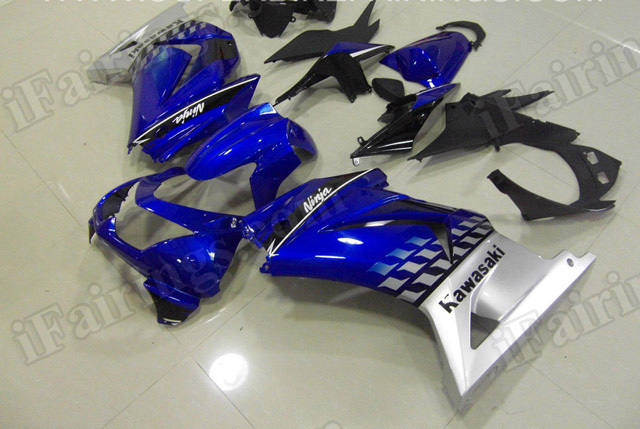 Motorcycle fairings/bodywork for Kawasaki Ninja 250R EX250 2008 to 2012 blue and silver.