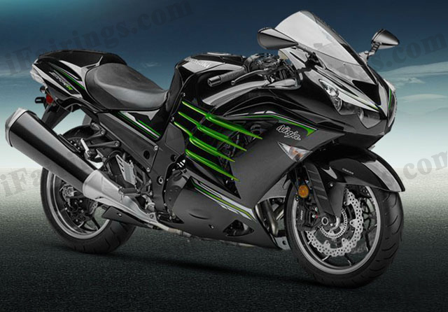 Motorcycle fairings/bodywork for Kawasaki Ninja ZX14R 2012 to 2015 black with green side.
