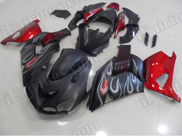 Motorcycle fairings/bodywork for Kawasaki Ninja ZX14R 2006 to 2011 black and red.