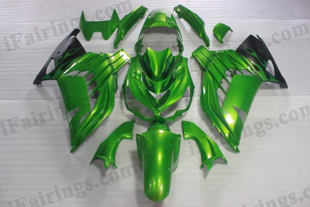 Motorcycle fairings/bodywork for Kawasaki Ninja ZX14R 2012 to 2015 green and black paint.