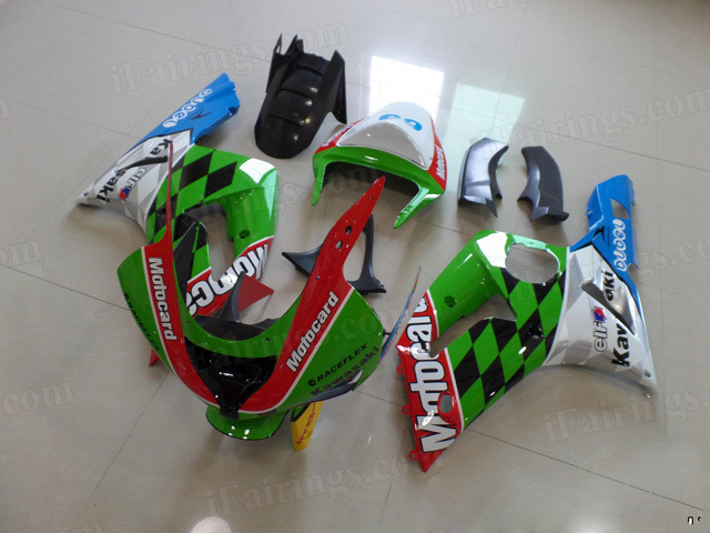 Motorcycle fairings/bodywork for Kawasaki Ninja ZX6R 2003 2004 MOTOCARD graphic.
