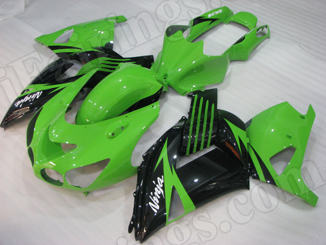 Motorcycle fairings/bodywork for Kawasaki Ninja ZX14R 2006 to 2011 green and black.