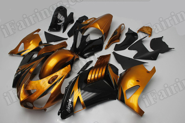 Motorcycle fairings/bodywork for Kawasaki Ninja ZX14R 2006 to 2011 orange gold and black.