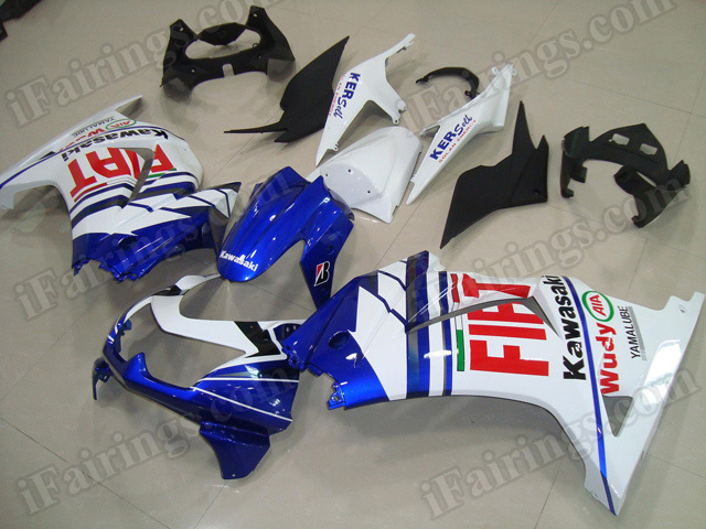 OEM replacement fairing kits for Kawasaki Ninja 250R EX250 2008 to 2012 with Fiat decals.