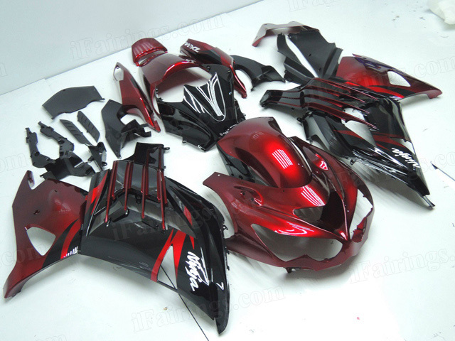 Motorcycle fairings/bodywork for Kawasaki Ninja ZX14R 2012 to 2015 red/black scheme.