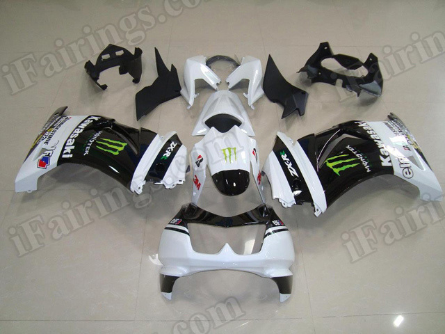 OEM replacement fairing kits for Kawasaki Ninja 250R EX250 2008 to 2012 with Monster graphic.