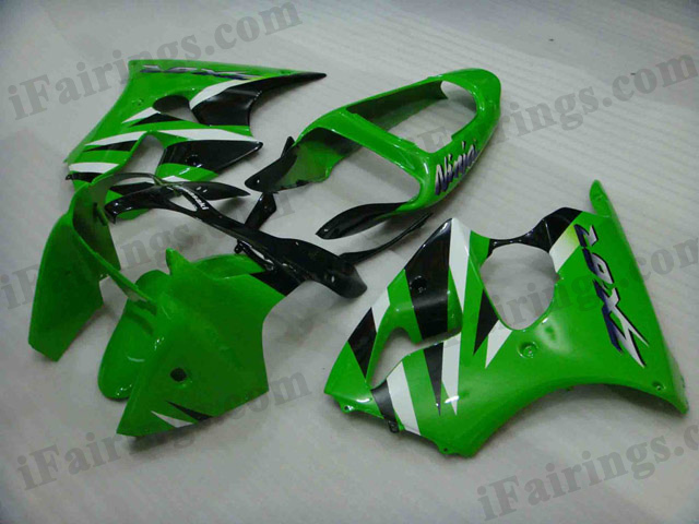 Replacement fairings for Kawasaki Ninja ZX6R 2000 2001 2002 green and black.