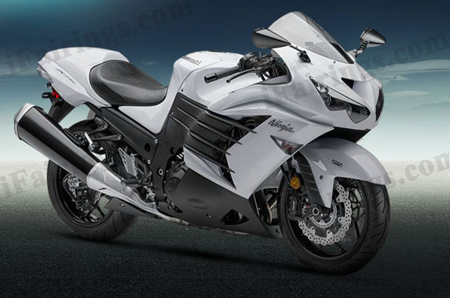 Motorcycle fairings/bodywork for Kawasaki Ninja ZX14R 2012 to 2015 white and black.