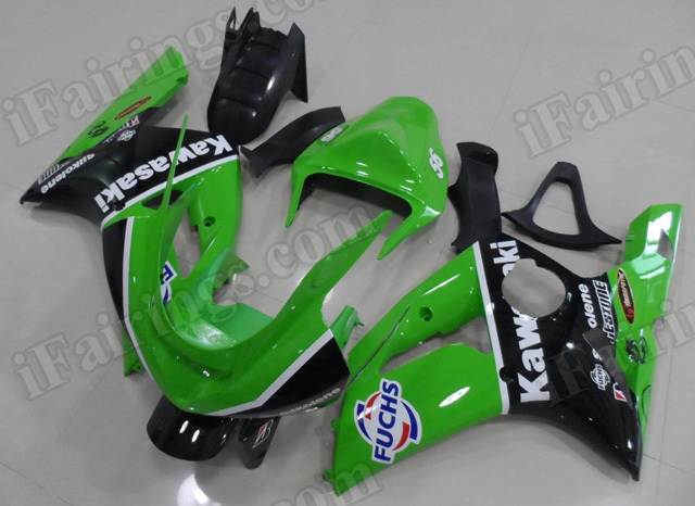 OEM replacement fairing sets for Kawasaki ZX6R Ninja 2003 2004 green and black fairing kits.