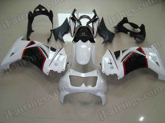 Replacement fairing kits for Kawasaki Ninja 250R EX250 2008 to 2012 in white and black