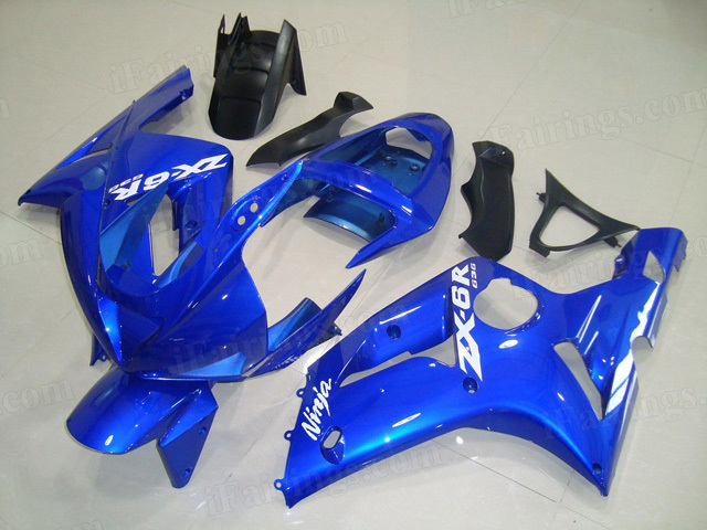 Motorcycle fairings/bodywork for Kawasaki Ninja ZX6R 2003 2004 blue.