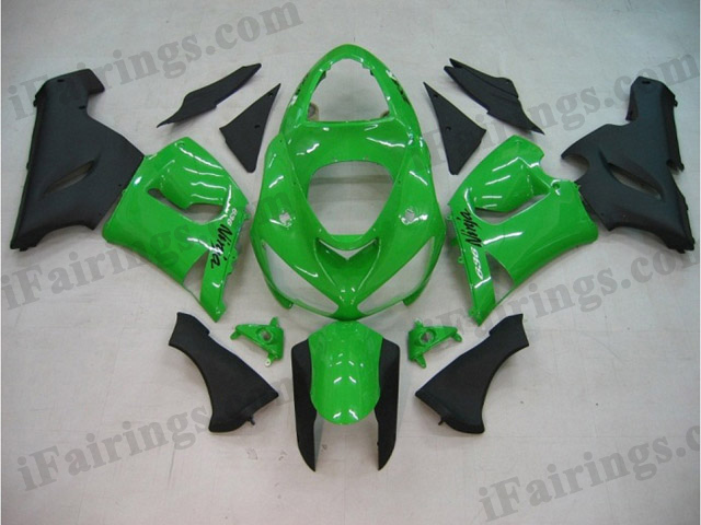 ZX6R 636 2005 2006 green and black fairings, 2005 2006 ZX6R replacement bodywork..