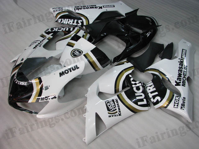 ZX6R 636 2005 2006 Lucky Strike fairings, 2005 2006 ZX6R Lucky Strike scheme.