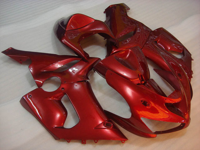 ZX6R 636 2005 2006 red fairings, 2005 2006 ZX6R replacement bodywork.