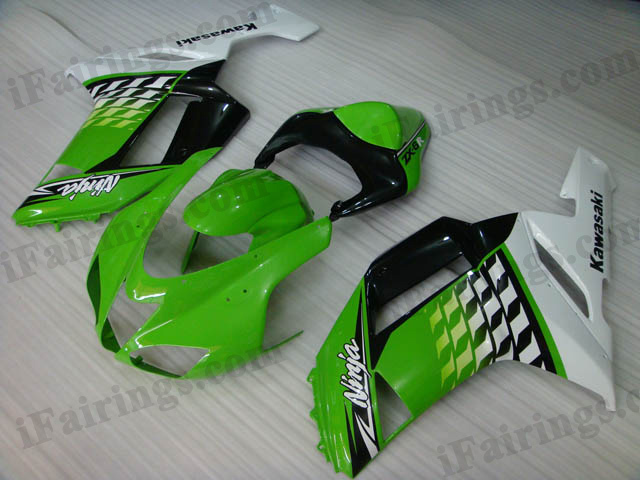 ZX6R 636 2007 2008 green and white fairings, 2007 2008 ZX6R body kits.