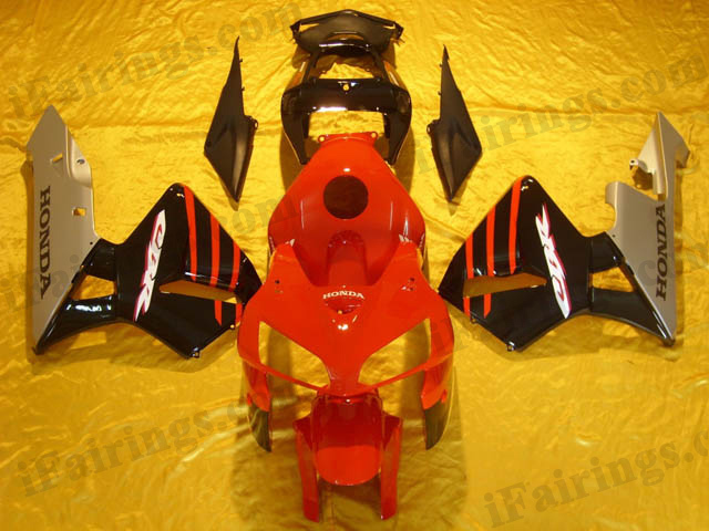2005 2006 Honda CBR600RR red,black and silver fairing kits
