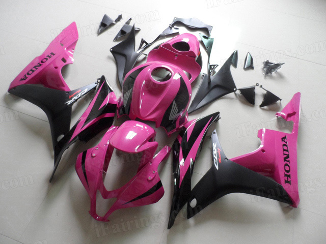 2007 2008 Honda CBR600RR pink and black fairing kits.