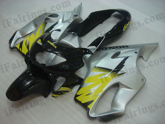 1999 2000 Honda CBR600 F4 black and silver fairing kits.
