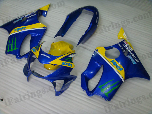 1999 2000 Honda CBR600 F4 blue and yellow fairing kits.
