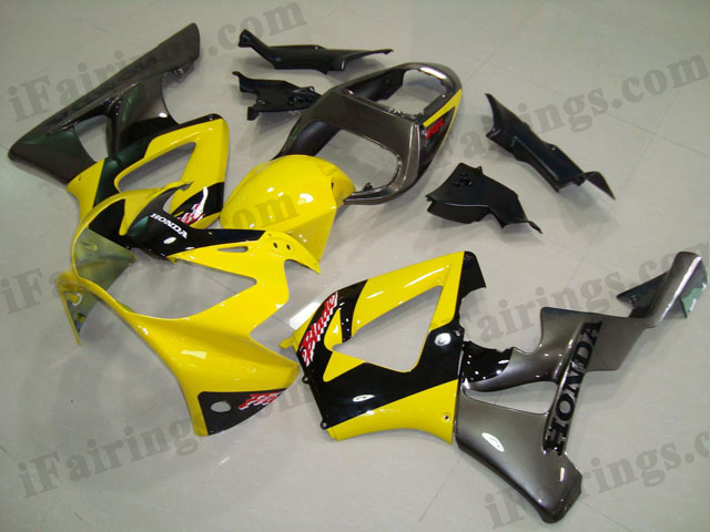 2000 2001 CBR900RR 929 yellow and gunmetal fairing kits