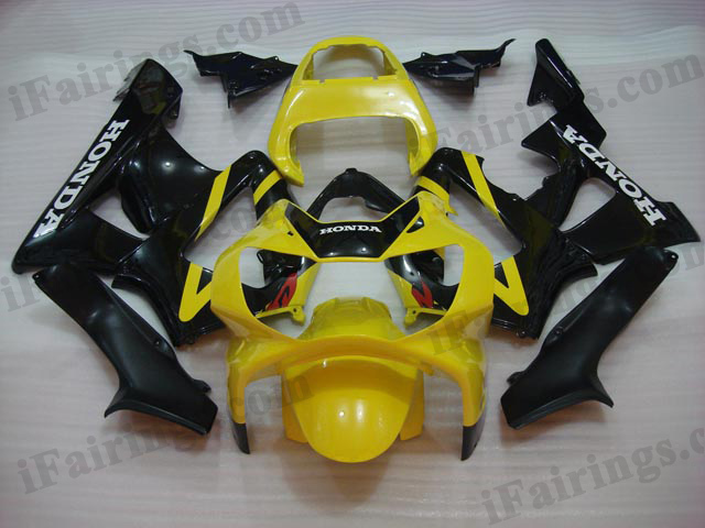2000 2001 Honda CBR929RR yellow and black fairing kits.