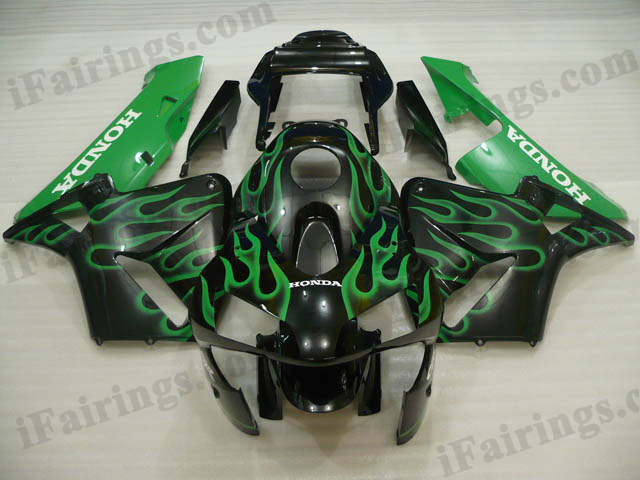 2003 2004 CBR600RR black and green flame fairings.