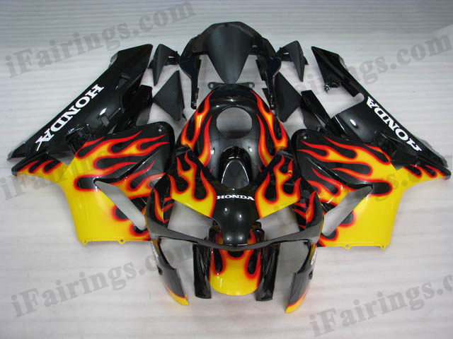 2003 2004 CBR600RR black and yellow flame fairings.