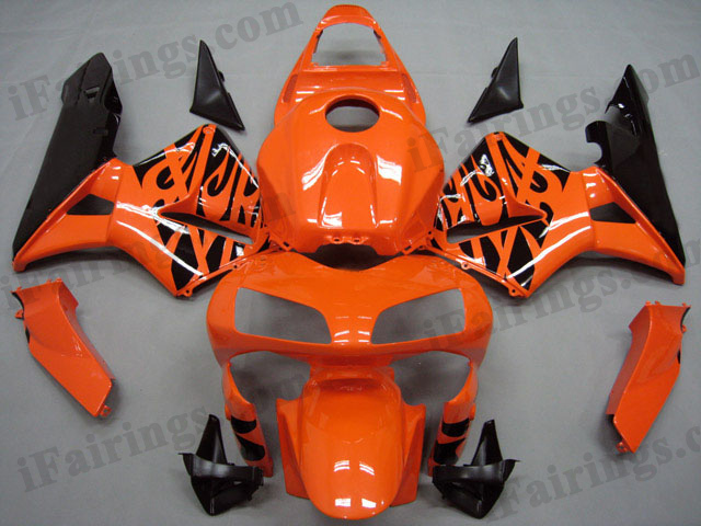 2003 2004 CBR600RR burnt orange and black flame fairings.