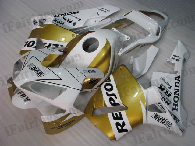 2003 2004 CBR600RR gold and white repsol fairing kits.