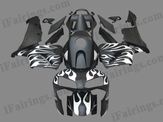 2003 2004 CBR600RR matt black and white flame fairings.