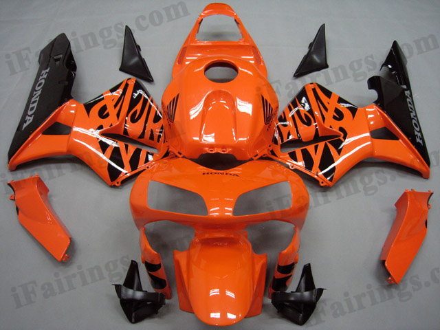 2003 2004 CBR600RR orange and black flame fairings.