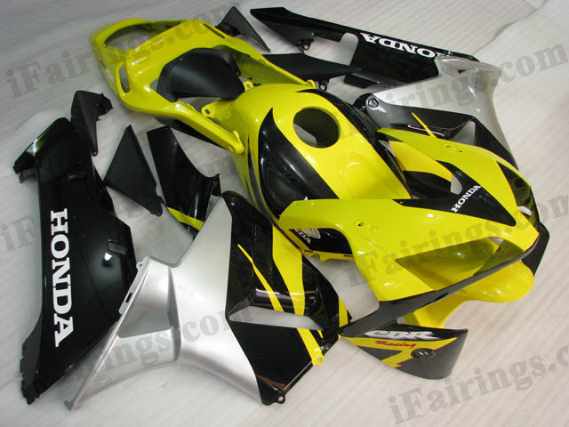 2003 2004 CBR600RR yellow, black and silver fairing kits.