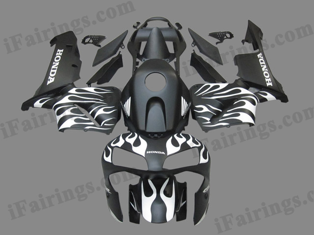 2003 2004 Honda CBR600RR black and white flame fairing kits