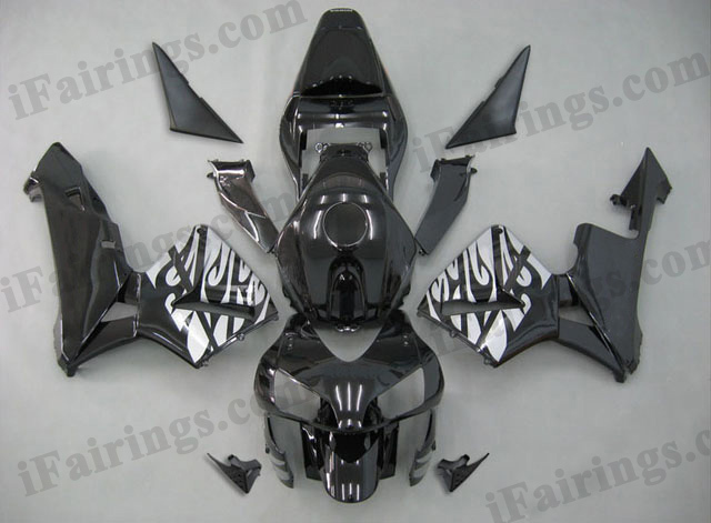 2003 2004 Honda CBR600RR black/silver tribal flame fairing kit.