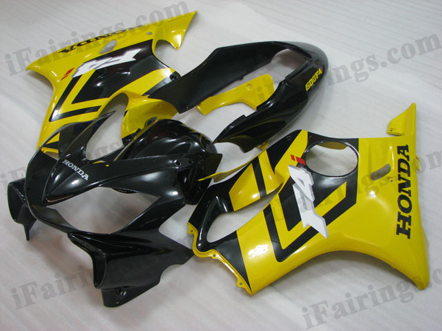 2004 2005 2006 2007 Honda CBR600 F4i black and yellow fairing kits