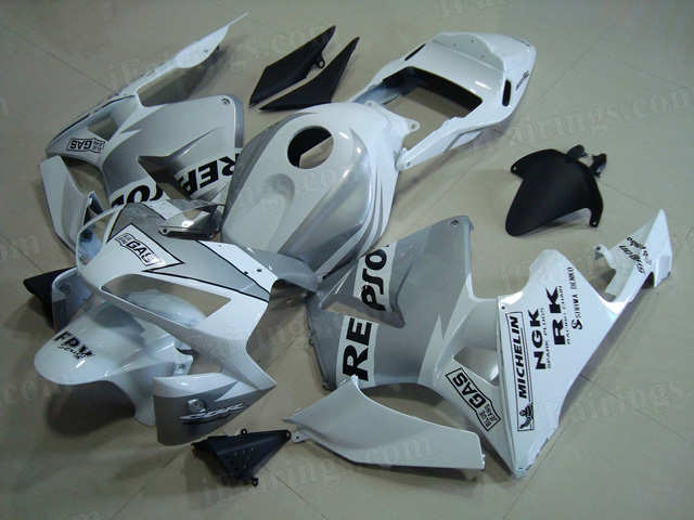2003 2004 Honda CBR600RR white/silver Repsol fairings and bodywork.