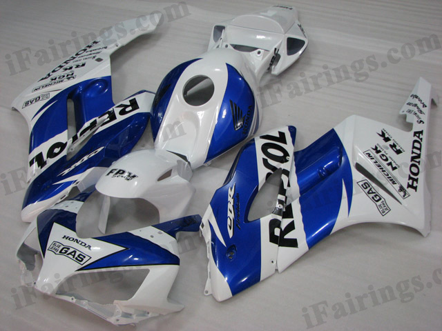 2004 2005 CBR1000RR fairing kits in white/blue Repsol graphics.