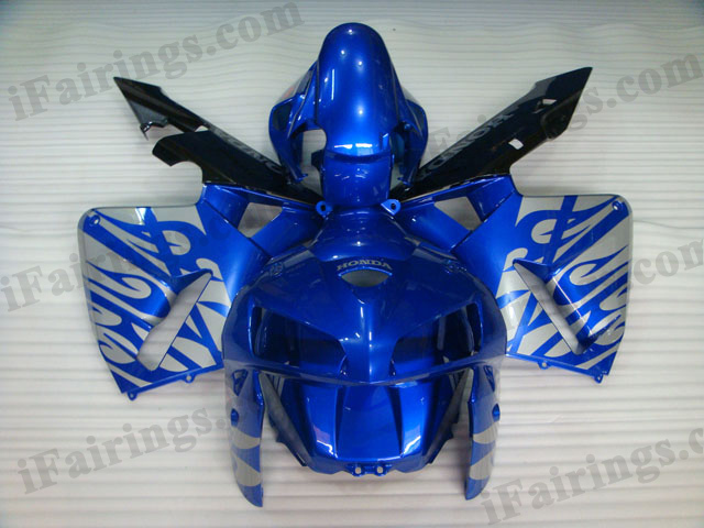 2005 2006 CBR600RR blue and flame fairings.
