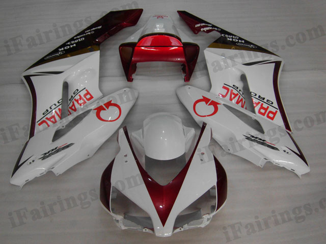2004 2005 Honda CBR1000RR white and red fairing kits.