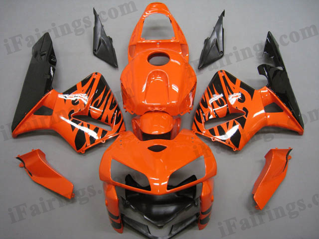2005 2006 CBR600RR orange and black flame fairing sets.