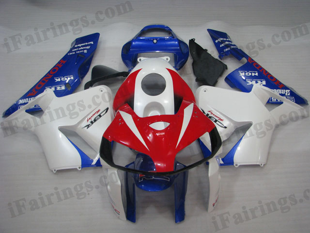 2005 2006 CBR600RR red, white and blue fairings