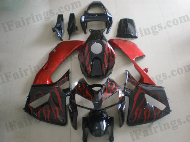 2005 2006 Honda CBR600RR black and red flame fairing kits.