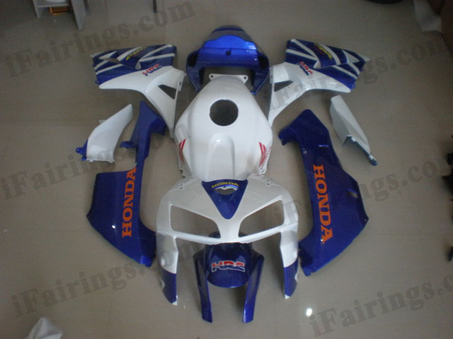 2005 2006 CBR600RR white and blue fairings