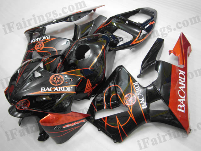 2005 2006 Honda CBR600RR black and orange BACARDI fairings.